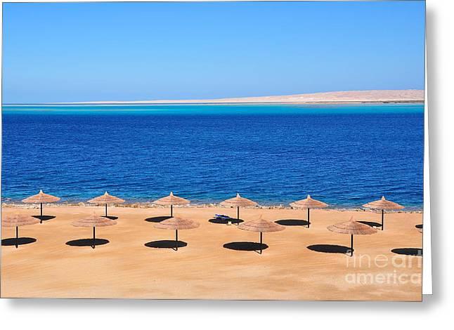 Parasols At Red Sea,hurghada Greeting Card
