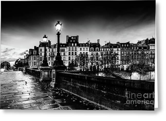Paris At Night - Pont Neuf Greeting Card