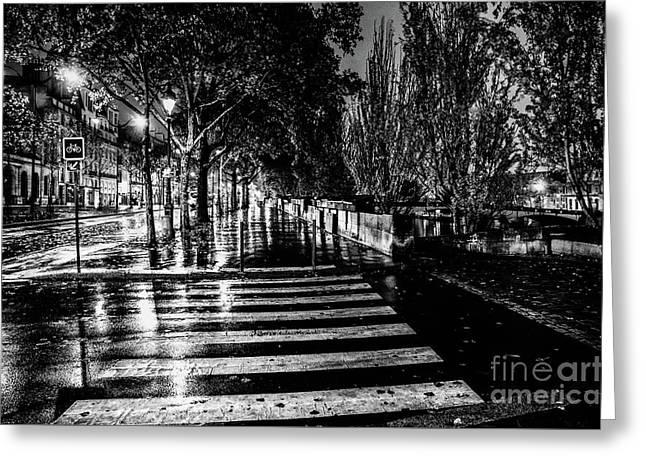 Paris At Night - Quai Voltaire Greeting Card