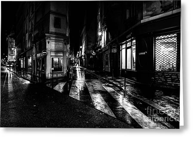 Paris At Night - Rue De Seine Greeting Card