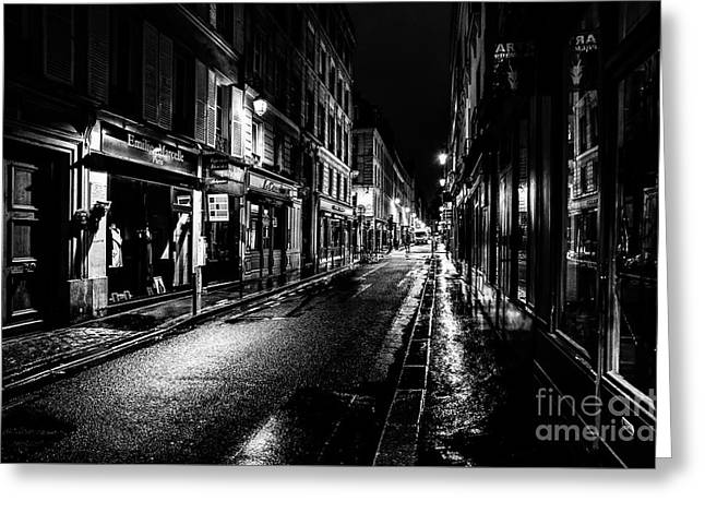 Paris At Night - Rue De Vernueuil Greeting Card