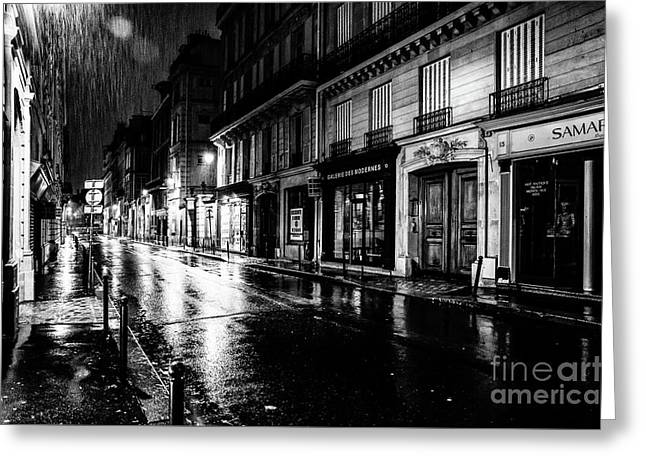 Paris At Night - Rue Saints Peres Greeting Card