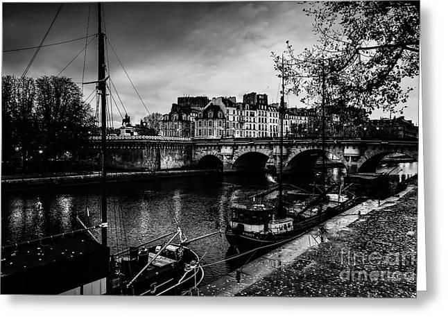 Paris At Night - Seine River Towards Pont Neuf Greeting Card