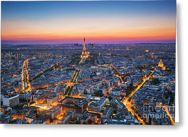 Paris, France At Sunset. Aerial View On Greeting Card