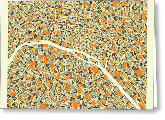 Paris Map 1 Greeting Card