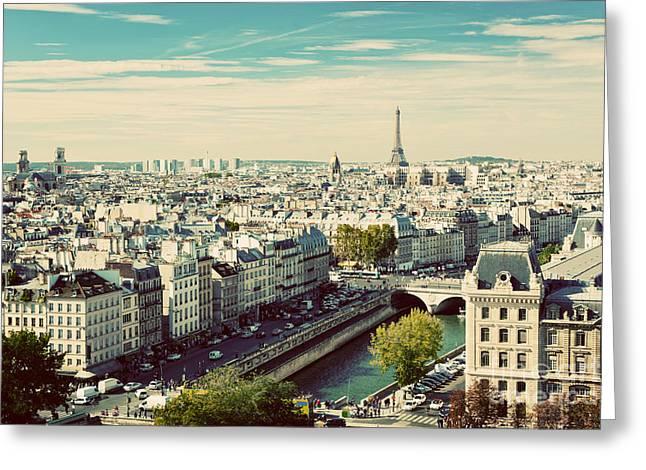 Paris Panorama, France. View On Eiffel Greeting Card