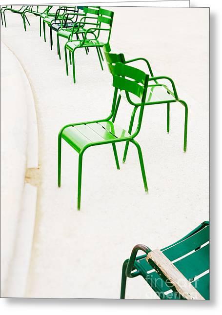 Parisian Metallic Chairs. Photo With Greeting Card by Anatoli Styf