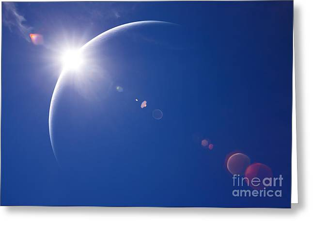 Partial Solar Eclipse With Blue Sky And Greeting Card