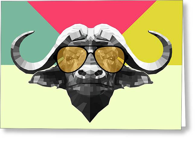 Party Buffalo In Glasses Greeting Card