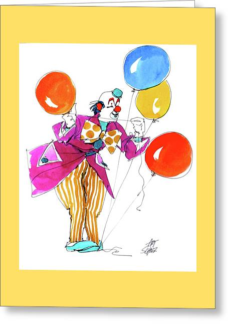Party Clown Greeting Card by Art Scholz