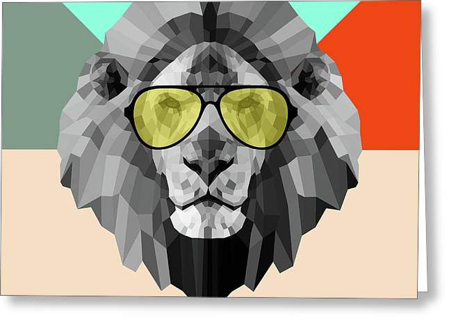 Party Lion In Glasses Greeting Card