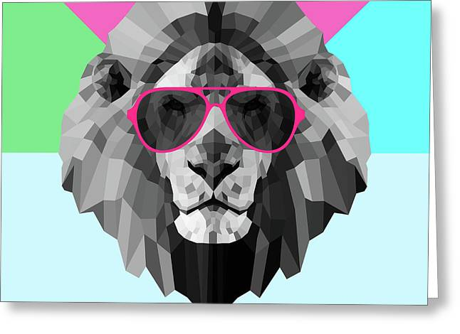Party Lion In Red Glasses Greeting Card