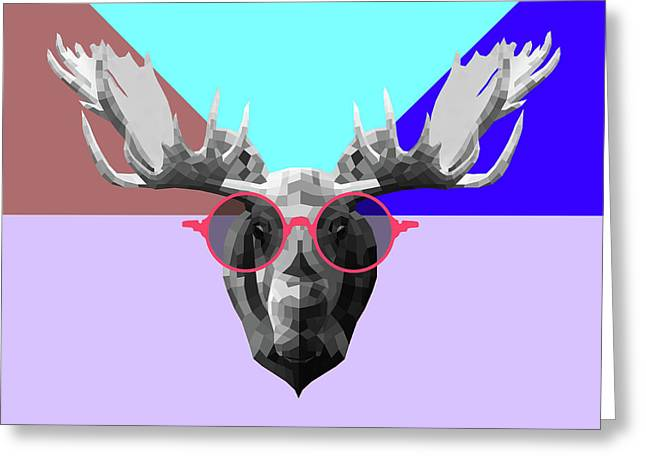Party Moose In Glasses Greeting Card