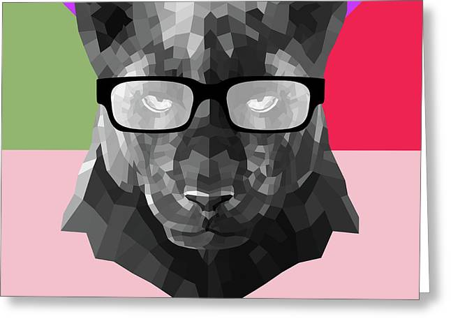 Party Panther In Glasses Greeting Card
