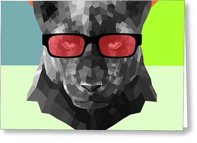 Party Panther In Red Glasses Greeting Card