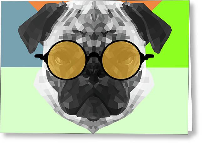 Party Pug In Yellow Glasses Greeting Card