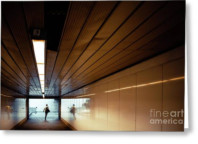 Passengers In A Hurry At The End Of A Tunnel At The Entrance To The Metro Station. Greeting Card