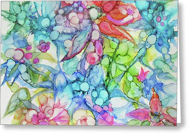 Pastel Flowers - Alcohol Ink Greeting Card