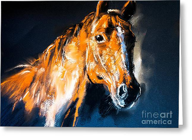 Pastel Portrait Of A Brown Horse On A Greeting Card