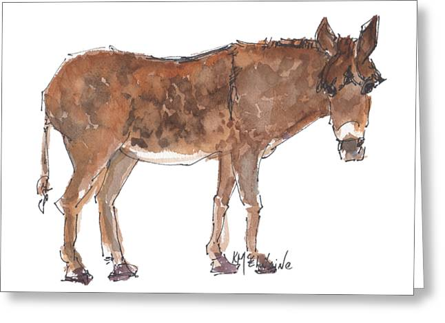 Pasture Boss 2015 Watercolor Painting By Kmcelwaine Greeting Card