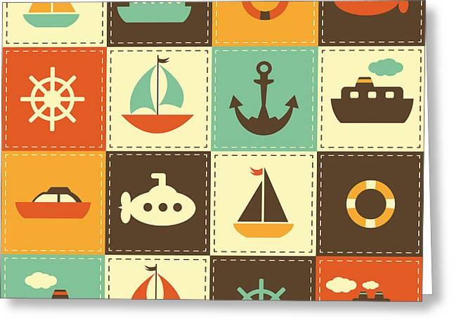Patchwork Background With Sea Transport Greeting Card