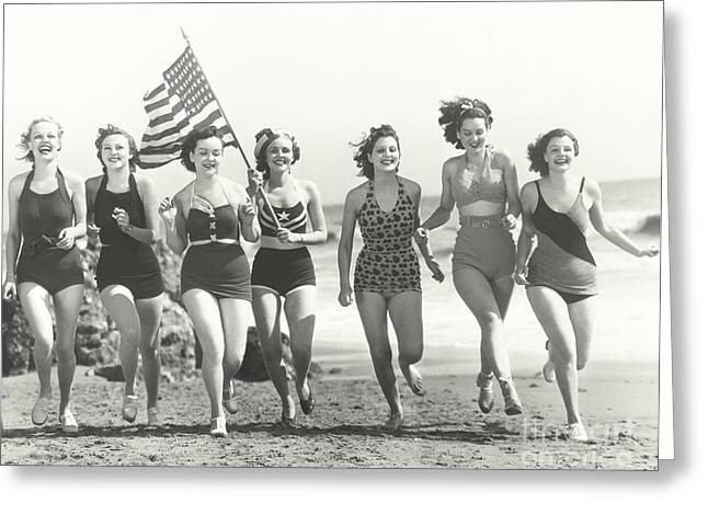 Patriotic Women At The Beach Greeting Card