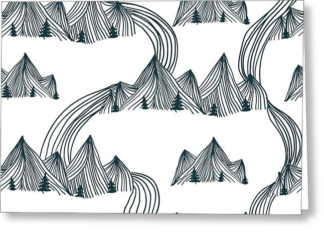 Pattern Graphic Mountain Landscape Greeting Card