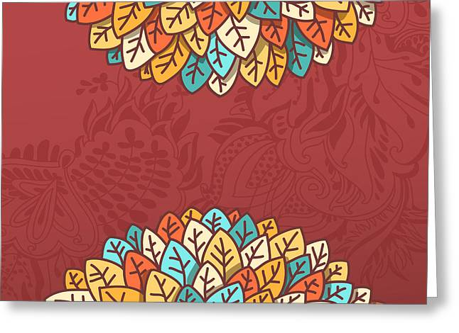 Pattern With Autumn Foliage Vector Greeting Card
