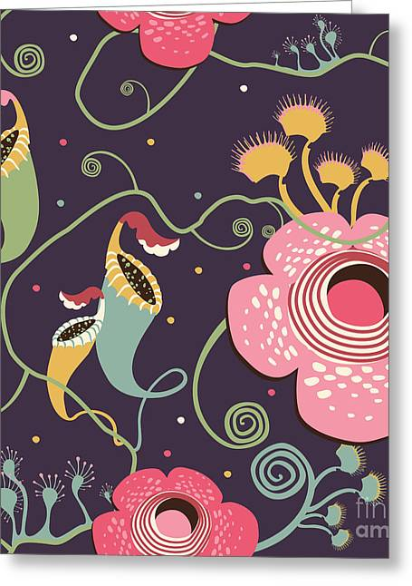 Pattern With Carnivorous Plants Greeting Card