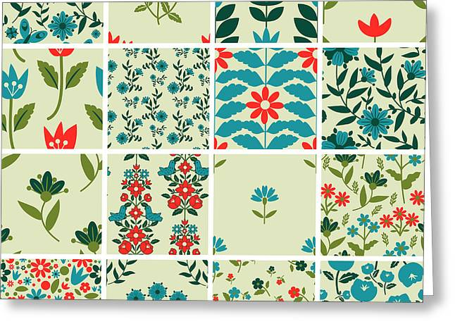 Patterns Set With Floral Ornament Greeting Card