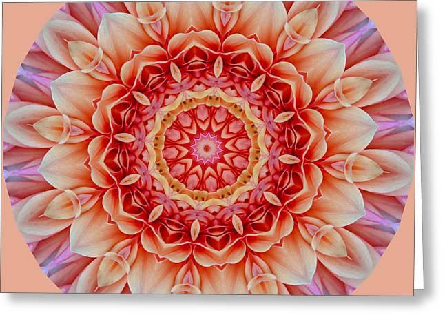 Peach Floral Mandala Greeting Card