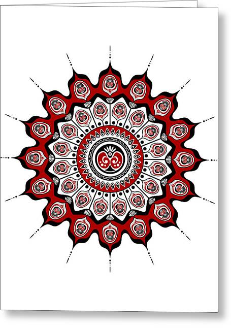 Peacock Feathers Mandala In Black And Red Greeting Card