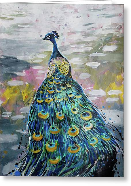 Peacock In Dappled Light Greeting Card