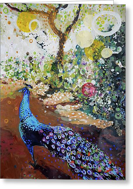 Peacock On Path Greeting Card