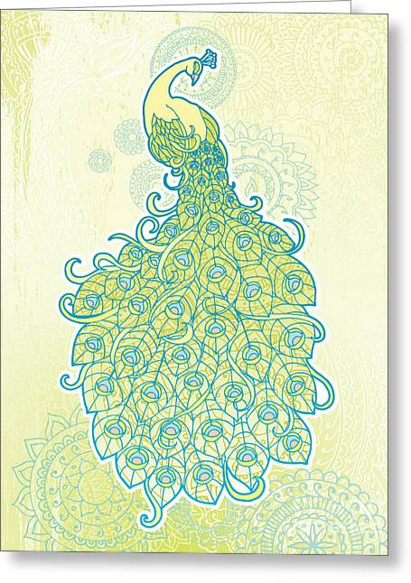 Peacock With Tail Feathers In Front Of Greeting Card