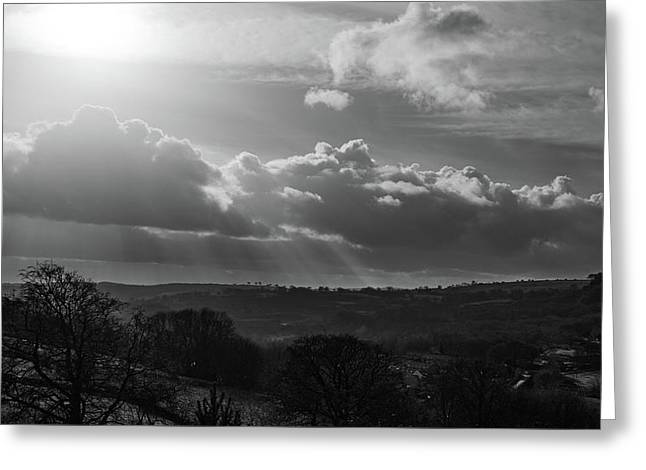 Peak District From Black Rocks In Monochrome Greeting Card