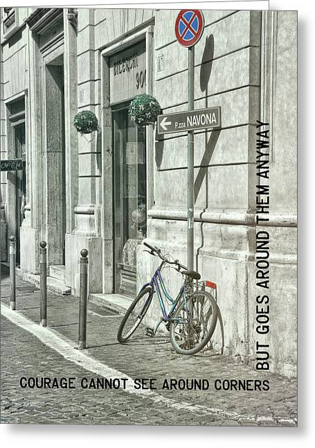 Pedal Through Rome Quote Greeting Card by JAMART Photography