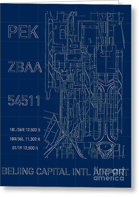 Pek Beijing Capital Airport Blueprint Greeting Card