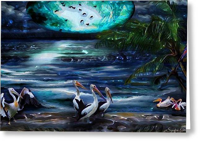 Pelicans On The Shore Greeting Card