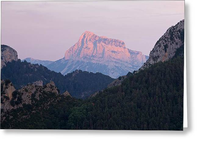 Greeting Card featuring the photograph Pena Montanesa Glowing Red by Stephen Taylor