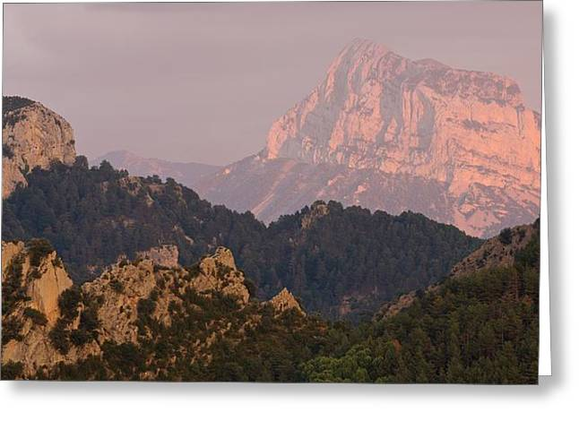 Greeting Card featuring the photograph Pena Montanesa Sunset Panorama by Stephen Taylor