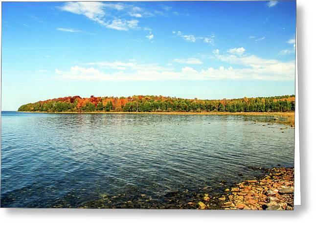 Peninsula Shore In Fall Greeting Card