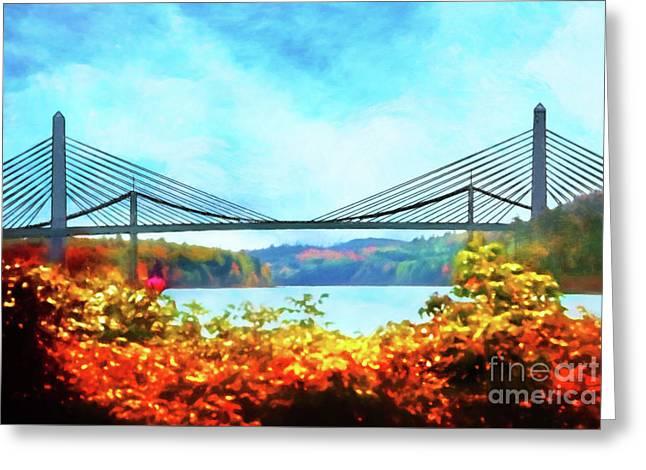 Penobscot Narrows Bridge In Autumn Greeting Card