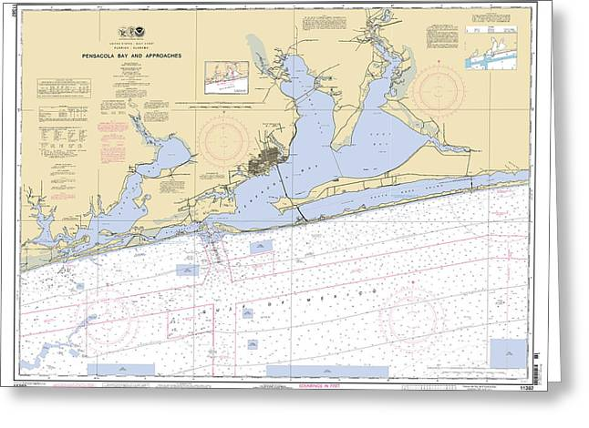 Pensacola Bay And Approaches Noaa Chart 11382 Greeting Card