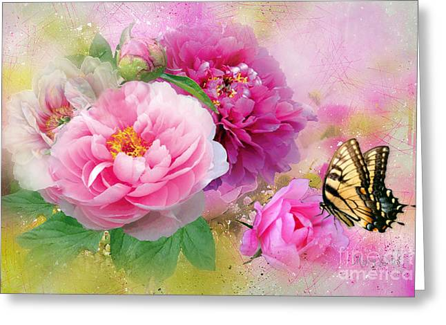 Peonies And Butterfly Greeting Card
