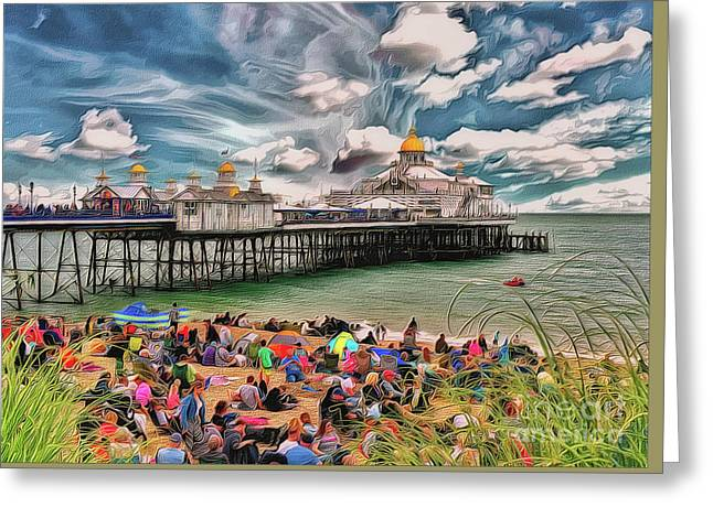 Greeting Card featuring the photograph People And The Pier by Leigh Kemp