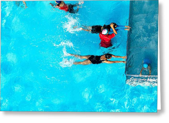People Exercising In A Swimming Pool Greeting Card