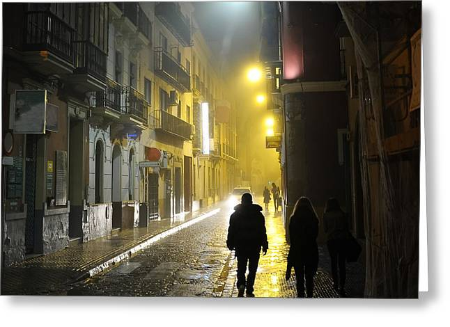 People In The Dark Alley Greeting Card