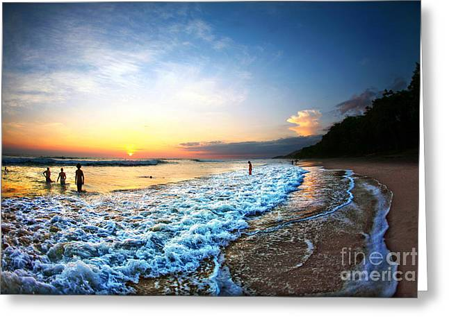 People Swimming In Ocean During Sunset Greeting Card