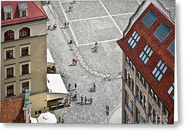People Walk On The Market Square In Greeting Card